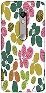 Snoogg Seamless Pattern With Leaf Designer Protective Back Case Cover For Motorola Moto X Play