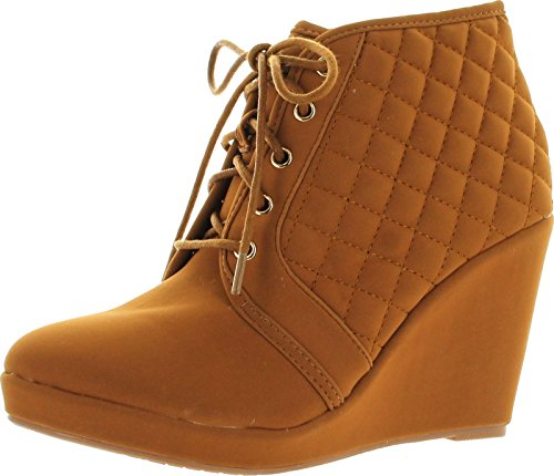 Forever Womens Olesia-27 Fashion Lace Up Quilted Ankle Wedge High Heel Booties Platform,Tan,8 High Heel 8