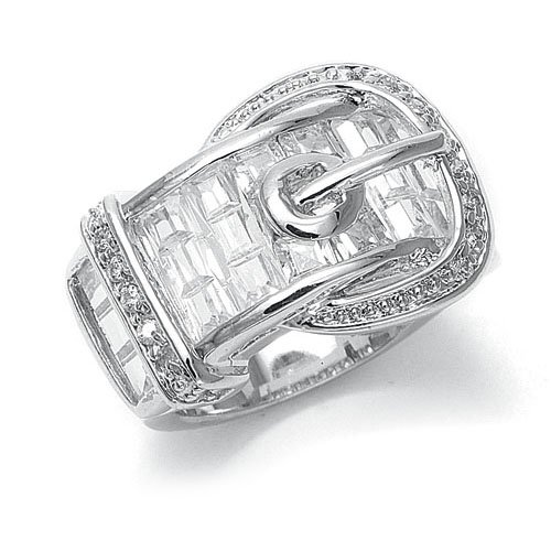 Clear CZ Designer Buckle Ring 9