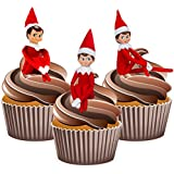 Elf on the Shelf Boy Red Christmas Mix - Edible Stand-up Cup Cake Toppers (Pack of 12)