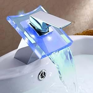 Ouku® Deck Mount Modern Single Handle Widespread Waterfall Bathroom Vessel Sink LED Faucet Chrome Bath Tub Mixer Taps Bathtub Faucets Cheap Discount Unique Designer Plumbing Fixtures Single Hole Direct Roman Vanity Glacier Bay Faucets