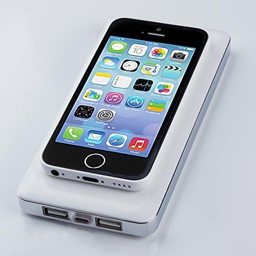 ポンと置くだけで超簡単に充電できる!【Qi規格ワイヤレスチャージャー 大容量10000mAhモバイルバッテリー内蔵】電源無しでの充電も可能! スマホ充電器 ホワイト(iPhone6対応可)(【対応機種】docomo:AQUOS PHONE ZETA SH-06E / Optimus it L-05E / ELUGA P P-03E / MEDIAS X N-04E / ELUGA X P-02E / AQUOS PHONE EX SH-04E / ARROWS Kiss F-03 / EELUGA V P-06D / F-09D ANTEPRIMA / ARROWS X F-10D / AQUOS PHONE st SH-07D / AQUOS PHONE ZETA SH-09D / ARROWS kiss F-03D / AQUOS PHONE Slider SH-02D シャープ / Q-pot.Phone SH-04D シャープ / SH-05D シャープ / AQUOS PHONE f SH-13C シャープ / SoftBank:MEDIAS CH SoftBank 101N NECカシオ / au:URBANO L01,L02,L03 / イーモバイル:Nexus5 / UQ WiMAX : Wi-Fi Walker )