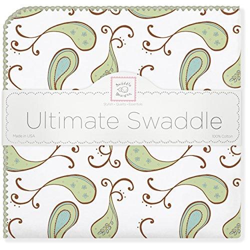 SwaddleDesigns Ultimate Receiving Blanket, Triplets Paisley, Kiwi