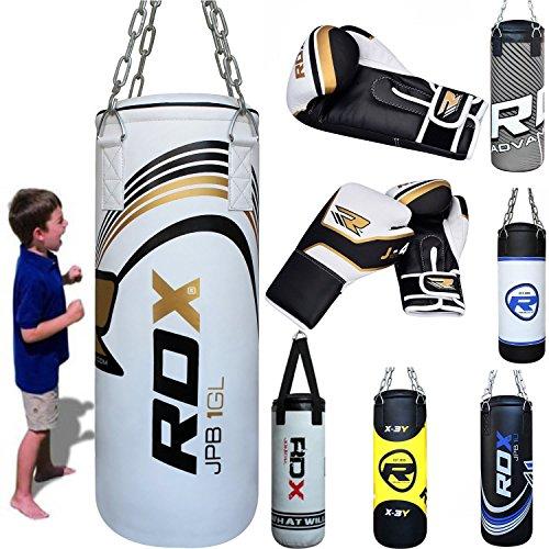 MMA Kinder Boxen Sack 2FT Junior Boxsack Set Kickboxen Sandsack Training Gefüllt Gewicht