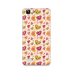 Ebby Cute Pink Hearts Premium Printed Case For Vivo X5