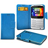 (Baby Blue) HTC ChaCha Super Thin Faux Leather Suction Pad Wallet Case Cover Skin With Credit/Debit Card Slots By Spyrox