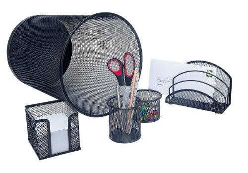 Schreibtisch-Set-Office-5-teilig-Drahtmetall-schwarz
