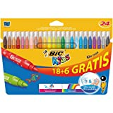 Bic Kids Kid Couleur Feutre ultra lavable Couleurs assorties 18+6 Gratuits