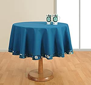 Buy round table cover duck cotton 72 inch diameter blue for Where can i buy table linens