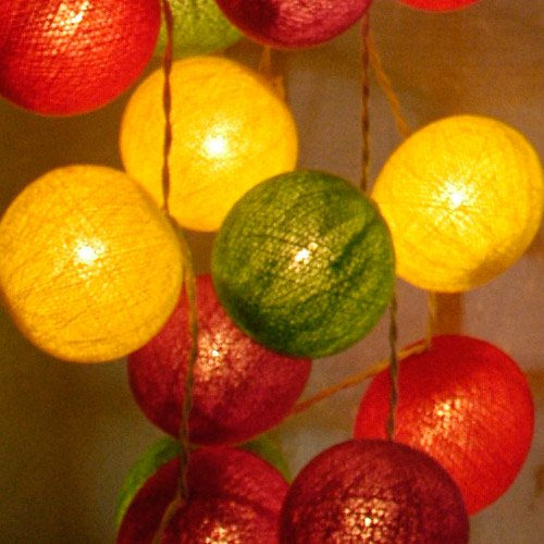 Cotton Ball String Light Set (Green,Yellow,Purplet&Red Colour) with White Cord for Birthday Party Decorating, Garden Party Decorations or Wedding Lights Product of Thailand