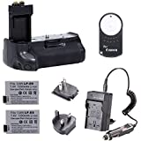 Neewer Wireless Remote Battery Grip Replacement for BG-E8 + 2PCS Rechargeable Replacement LP-E8 Li-ion Battery 7.4V 1350mAh + 4 In 1 Battery Charger Kit with US/EU/UK Plug + Car Adapter for Canon EOS 550D 600D 650D 700D Digital Rebel T2i T3i T4i