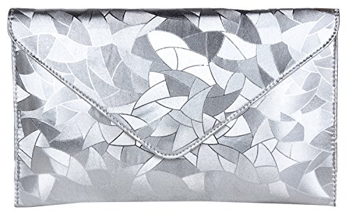 Do Bhai Leaf Print Women's Clutch (Silver) (Leaf-Print-Silver)