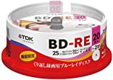 20 TDK Bluray 25gb Bd-re 2x Speed Rewritable Blue Ray Discs Original Spindle