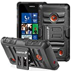 Fosmon STURDY Shock Absorbing Dual Layer Hybrid Holster Cover Kickstand Case for Nokia Lumia 521 (Black)