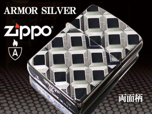 【100個限定】zippo ジッポー ライター アーマー シルバーダイヤカット格子柄 深彫り両面加工 16DC-4