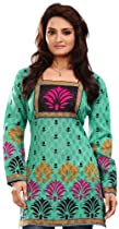 Cotton Indian Kurti Top Tunic Printed Womens Blouse India Clothes (Green, L)