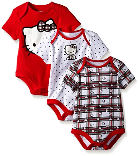 Hello Kitty Baby Girls' Value Pack Bodysuits, Red/White/Black, 0/3 Months