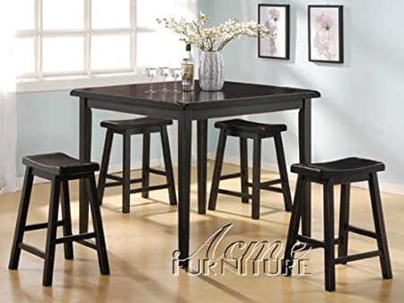 5pc Counter Height Table & Stools Set Dark Walnut Finish