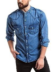 Prym Men's Casual Shirt (890742301Small44_2011502462_Small_Mid Indigo with Acid Wash)