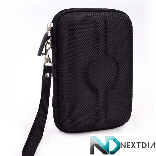 Portable Travel Vape Carrying Case suitable for Vapor Genie Glass Bat Vaporizer (BLACK NYLON HARD SHELL) Includes Carabiner Hook for Easy Attachment + NextDIA Velcro Tie (Vapor Genie compare prices)