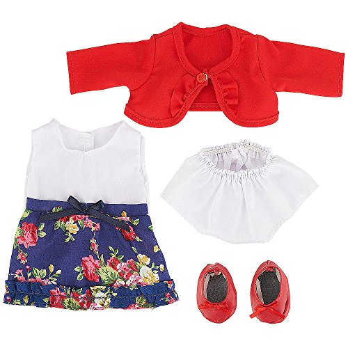 You & Me Friends 14 Inch Doll Outfit - Navy/White Floral Dress With Red Cardigan front-885525