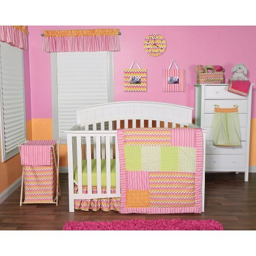 Trend Lab Savannah Chevron 6 Piece Crib Bedding Set - Pink/Orange/Green