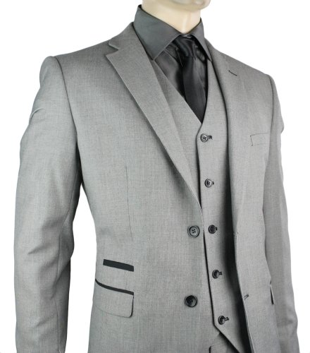 Mens Slim Fit Suit Grey Black Trim 3 Piece Work Office or Wedding Party Suit UK