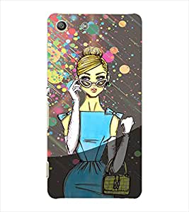 Fuson Modern Girl Back Case Cover for SONY XPERIA M5 - D3986