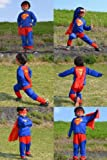 スーパーマン: 子供Sサイズ90〜100cmコスプレ衣装コスチューム子供用子供サイズハロウィン衣装大人男女着用バットマン仮装用おばけお化けお面かぶりものハロウイン ハロウィーンパーティーグッズ仮装 変装 【 3サイズ 】