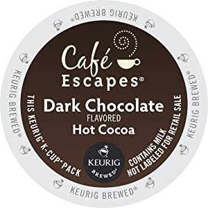 Keurig, Cafe Escapes, Dark Chocolate Hot Cocoa, K-Cup packs, 72 Count