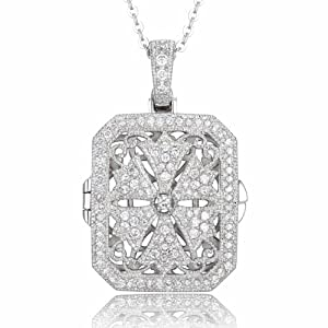 Fashion Cubic Zirconia Vintage-Inspired Lace Locket Necklace