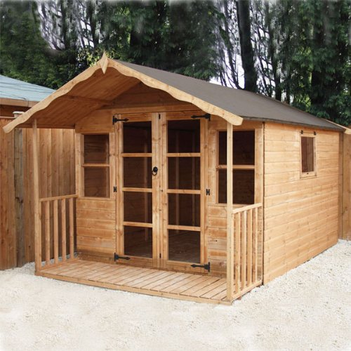 12ft x 8ft Sussex Shiplap Apex Wooden Garden Summerhouse - Brand New 12x8 Tongue and Groove Wood Summerhouses