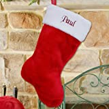 """Red Plush Embroidered Christmas Stocking Measure 19"""" Long, can be personalized"""