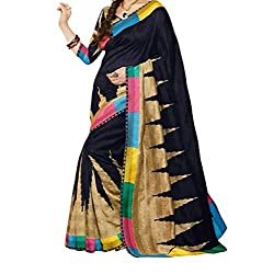 RGR Enterprice Woman's Bhagalpuri Designer Saree (BLACK PRINT_Multi-Coloured_Free Size)