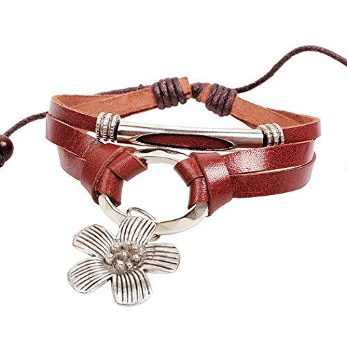 Sun Lorence Flower Handmade Beads Rope Weave Leather Bracelet