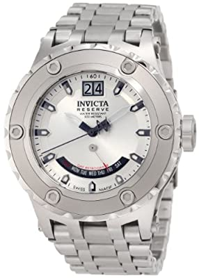 Invicta Men's 1584 Reserve Retrograde Silver Dial Stainless Steel Watch