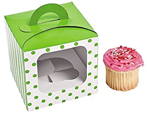 1 Dozen - Lime Green Polka Dot Cupcake Boxes With Handle - Party Favors
