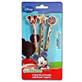 Disney Mickey Clubhouse 3pk pencil with Shaped Eraser Topper on 3D blister card