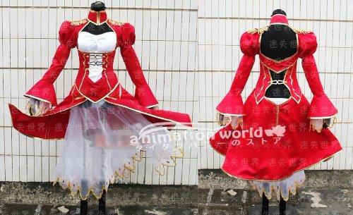 コスプレ衣装♪ Fate/Zero、fate/stay night セイバー(Saber)戦斗装 赤 コスチューム、コスプレ