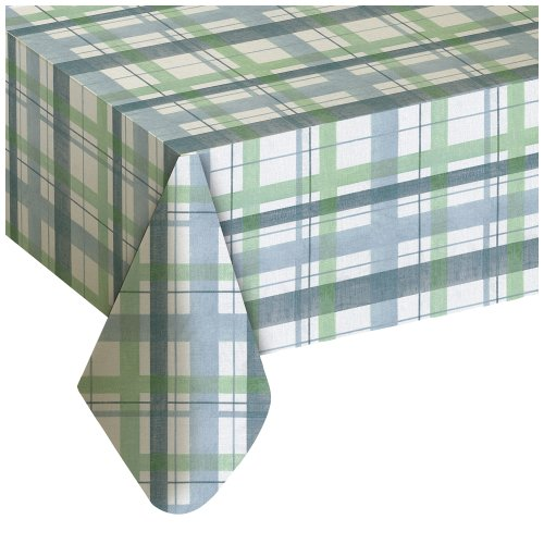 Plastic Table Cloth : Details Of Lexington Plaid Blue Vinyl Tablecloth, 60