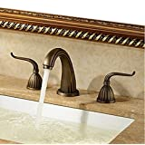 Rozin® Antique Brass Widespread Three Holes Bathroom Sink Faucet Basin Mixer Tap