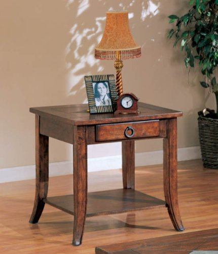 Cheap End Table with Storage Drawer in Medium Brown Finish (VF_700257)