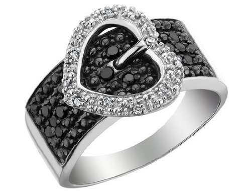 white and black diamond heart buckle ring 1 4 carat ctw. Black Bedroom Furniture Sets. Home Design Ideas