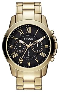 Mens Watch Fossil FS4815 Chronograph Chronograph Gold Tone Stainless Steel Case