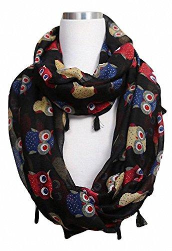 Sassy Scarves Women's Owl Design Print Wrap Loop Infinity Scarf with Tassels (Black)