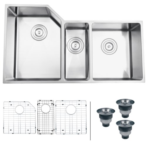 "Best Prices! Ruvati RVH8550 Undermount 16 Gauge 34"" Kitchen Sink Triple Bowl"