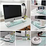 Cyanics i-Bridge Premium Multi-Function Desk Organizer, Monitor Stand with Tempered Glass, 3 Port USB Hub for Laptop, Desktop, iMac and more