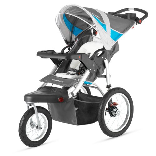New Baby Gray/Blue Schwinn Turismo Single Jogger Stroller W Comfortable Interior front-949470
