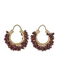 Amethyst By Rahul Popli Red Gold Plated Hoop Earrings