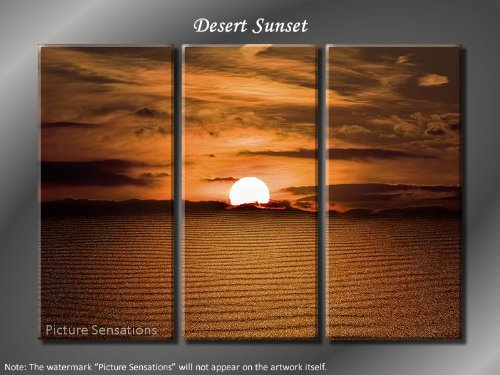 Framed Huge 3 Panel Art Sand Waves Desert Sunset Giclee Canvas Print